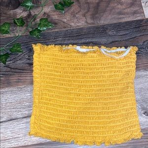 yellow/goldish scrunched tube top